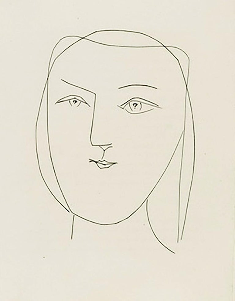 Pablo Picasso Portrait Print - Oval Head of a Woman with Piercing Eyes (Plate XXI)