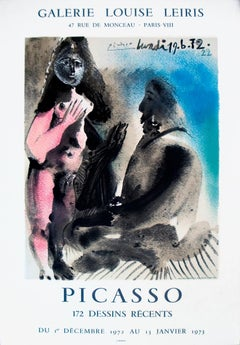 """Pablo Picasso-172 Dessins Recents-28.25"""" x 19""""-Lithograph-1972-Cubism-Pink, Blue"""