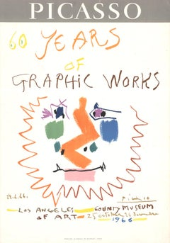 """Exhibition Poster 60 Years of Graphic Works-29"""" x 20.25""""-Lithograph-1966-Cubism"""