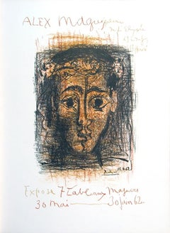 """Pablo Picasso-Alex Maguy Gallery-25.6"""" x 19""""-Lithograph-1962-Cubism-Brown"""
