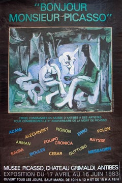 """Pablo Picasso-Bonjour Mr Picasso-24.5"""" x 16.25""""-Poster-1983-Cubism-Brown, Green"""
