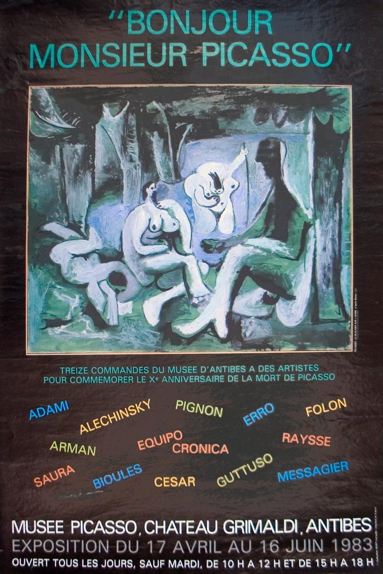 """After Pablo Picasso-Bonjour Mr Picasso-24.5"""" x 16.25""""-Poster-1983-Cubism - Print by Pablo Picasso"""
