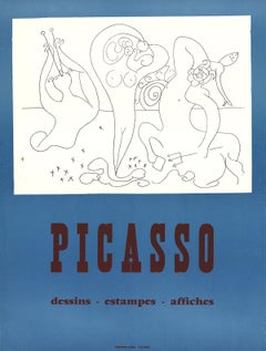 """Pablo Picasso-Drawings, Prints, Posters-25.5"""" x 19""""-Serigraph-Cubism-Blue, White"""