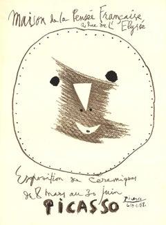 """Pablo Picasso-Exposition de Ceramiques-25.25"""" x 18.75""""-Lithograph-1958-Cubism"""
