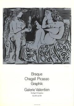 """Pablo Picasso-Galerie Valentien-31.5"""" x 22""""-Lithograph-1968-Cubism-Black & White"""