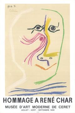 "Pablo Picasso-Hommage A Rene Char-31"" x 20""-Lithograph-1969-Cubism-Pastel"