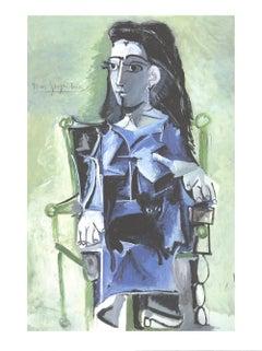 """Pablo Picasso-Jaqueline Assie avec son Chat Noir-31.5"""" x 23.5""""-Offset Lithograph"""