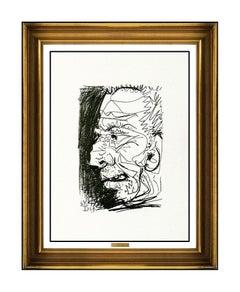 Pablo Picasso La Gout Du Bonheur Lithograph Male Portrait Authentic Artwork