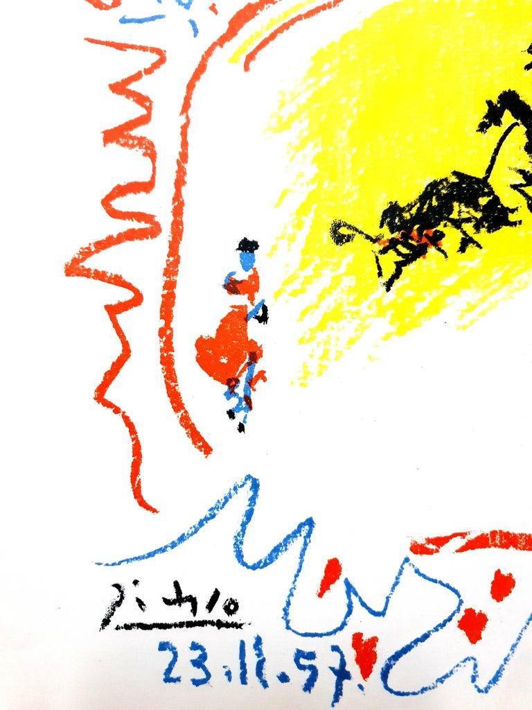Pablo Picasso - La Petite Corrida - Original Lithograph - Yellow Figurative Print by Pablo Picasso
