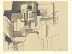 """Pablo Picasso-La Table et le Guitare  (d'apres Picasso)-19"""" x 25.25""""-Lithograph"""