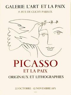 """L'Art et la Paix-25.5"""" x 19""""-Exhibition Poster-1971-Cubism-Black & White"""
