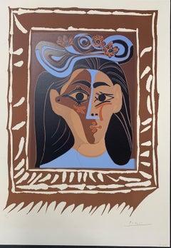 """Pablo Picasso, """"Le Chapeau a Fleurs"""", Linocut"""
