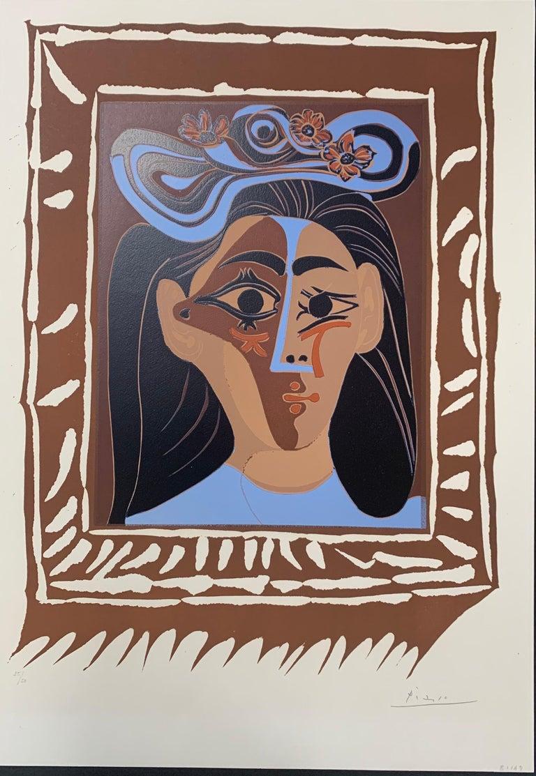 """Pablo Picasso, """"Le Chapeau a Fleurs"""", Linocut - Print by Pablo Picasso"""