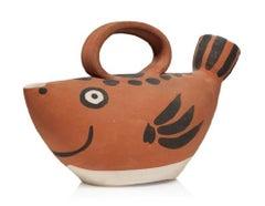 Pablo Picasso Madoura Ceramic Pitcher 'Sujet poisson,' Ramié 139