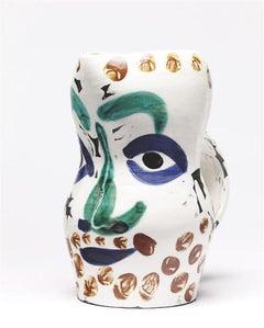 Pablo Picasso Madoura Ceramic Pitcher - Visage aux points Ramié 610