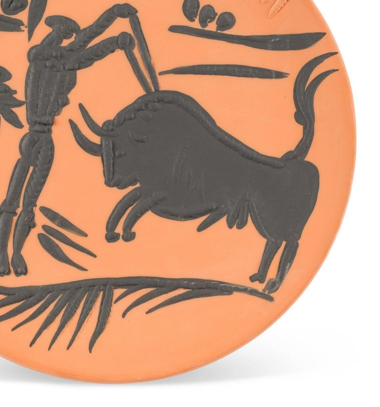 Pablo Picasso Madoura Ceramic Plate -  Banderilleros, Ramié 427 - Abstract Expressionist Sculpture by Pablo Picasso
