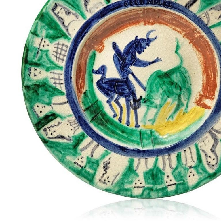 Pablo Picasso Madoura Ceramic Plate -'Corrida aux personnages,' Ramié 104 - Gray Abstract Print by Pablo Picasso