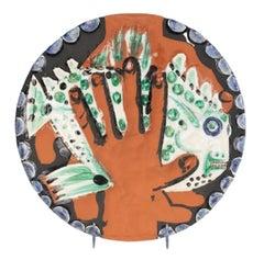 Pablo Picasso Madoura Terracotta Plate - Mains au poisson Ramié 214