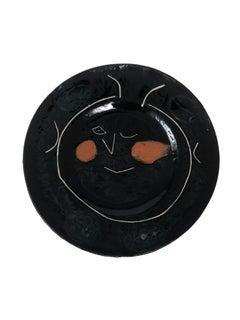 Pablo Picasso Madoura Ceramic Plate - Service visage noir, Ramié 46