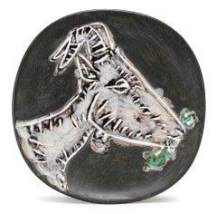 Pablo Picasso Madoura Ceramic Plate - Tête de chèvre de profil Ramié 112