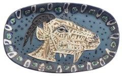 Pablo Picasso Madoura Ceramic Plate -'Tête de chèvre de profil,' Ramié 145