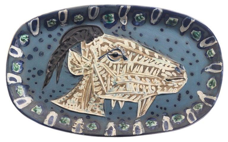 Pablo Picasso Madoura Ceramic Plate -'Tête de chèvre de profil,' Ramié 145 - Print by Pablo Picasso