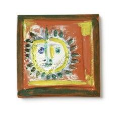 Pablo Picasso Madoura Ceramic Tile -'Petite Visage Solaire,' Ramié 552