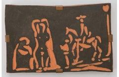 Pablo Picasso Madoura Terracotta Plaque -Personnages et cavalier Ramié 540