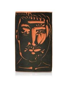 Pablo Picasso Madoura Terracotta 'Plaque Visage d'homme'. - Ramié 539