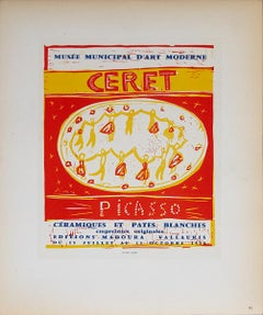 """Pablo Picasso-Musee Municipal Ceret-12.5"""" x 9.5""""-Lithograph-1959-Cubism-Red"""