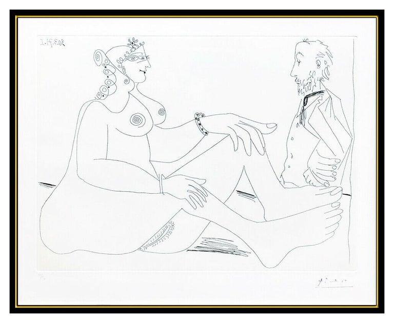 Pablo Picasso Original Etching Dry Point Nude Female Portrait Degas Cubism Art - Surrealist Print by Pablo Picasso