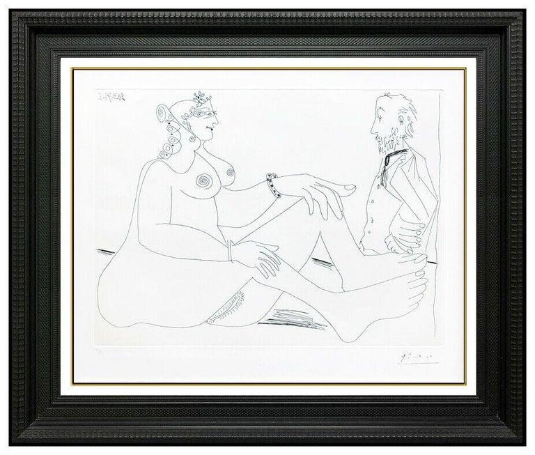 Pablo Picasso Original Etching Dry Point Nude Female Portrait Degas Cubism Art - Print by Pablo Picasso