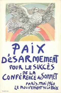 "Paix Disarmement-Peace-47.25"" x 31.5""-Lithograph-1960-Modernism"