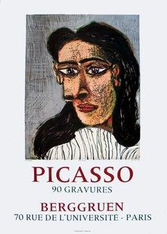 """Pablo Picasso-Portrait of Dora Maar-27.5"""" x 19.75""""-Lithograph-1971-Cubism-Gray"""