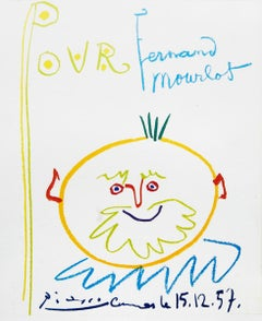 """Pablo Picasso-Pour Fernand Mourlot-17"""" x 11""""-Lithograph-1957-Cubism-Multicolor"""