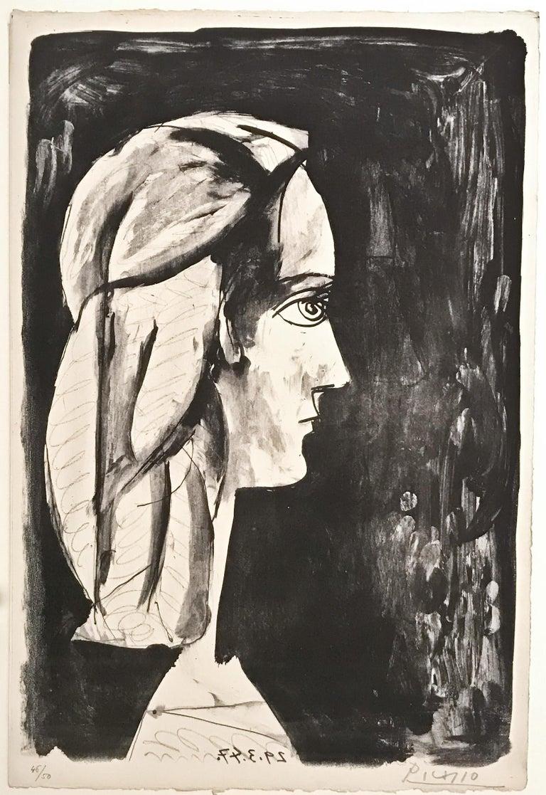 Pablo Picasso: Profil au fond noir (Bloch 437) - Print by Pablo Picasso