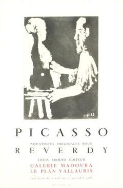 "Pablo Picasso-Reverdy-28.25"" x 18.5""-Lithograph-1967-Cubism-Black & White"