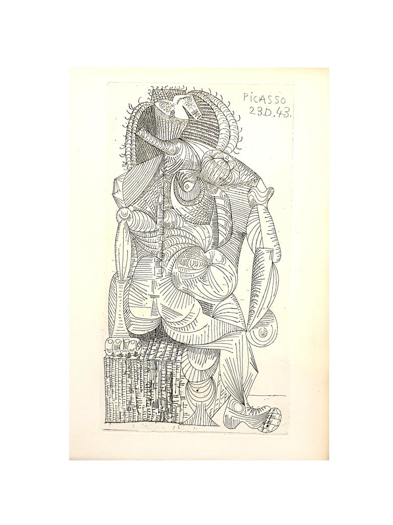 Pablo Picasso - Seated Woman - Original Etching - Modern Print by Pablo Picasso