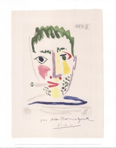 Pablo Picasso 'Smoker with Blue and Gray Striped Jersey' Offset Lithograph