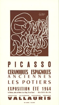 "Pablo Picasso-Spanish Ceramics-19.75"" x 11""-Lithograph-1964-Cubism-Brown"