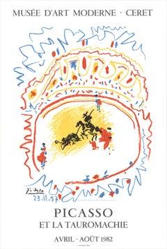 "Pablo Picasso-Tauromachie-35"" x 23.5""-Lithograph-1982-Cubism-Multicolor, White"