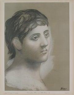 """Pablo Picasso Reproduction Tete de Jeune Homme-26"""" x 20""""-Pochoir-1948"""