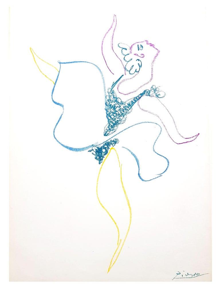 Pablo Picasso - The Ballet Dancer - Original Lithograph - Gray Portrait Print by Pablo Picasso