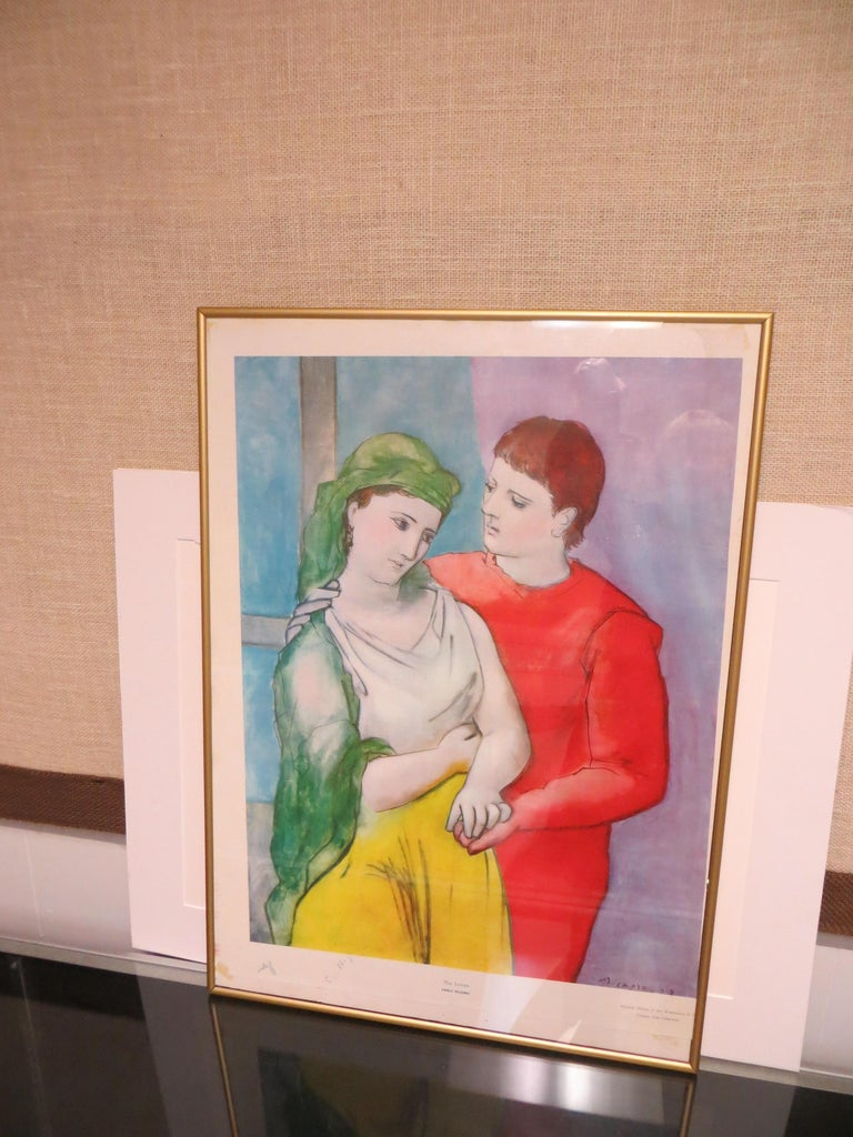 THE LOVERS VINTAGE PRINT SIGNED PABLO PICASSO  Vintage print signed and dated in the plate  This vintage Picasso reproduction print hails from the 1950's and depicts his early work