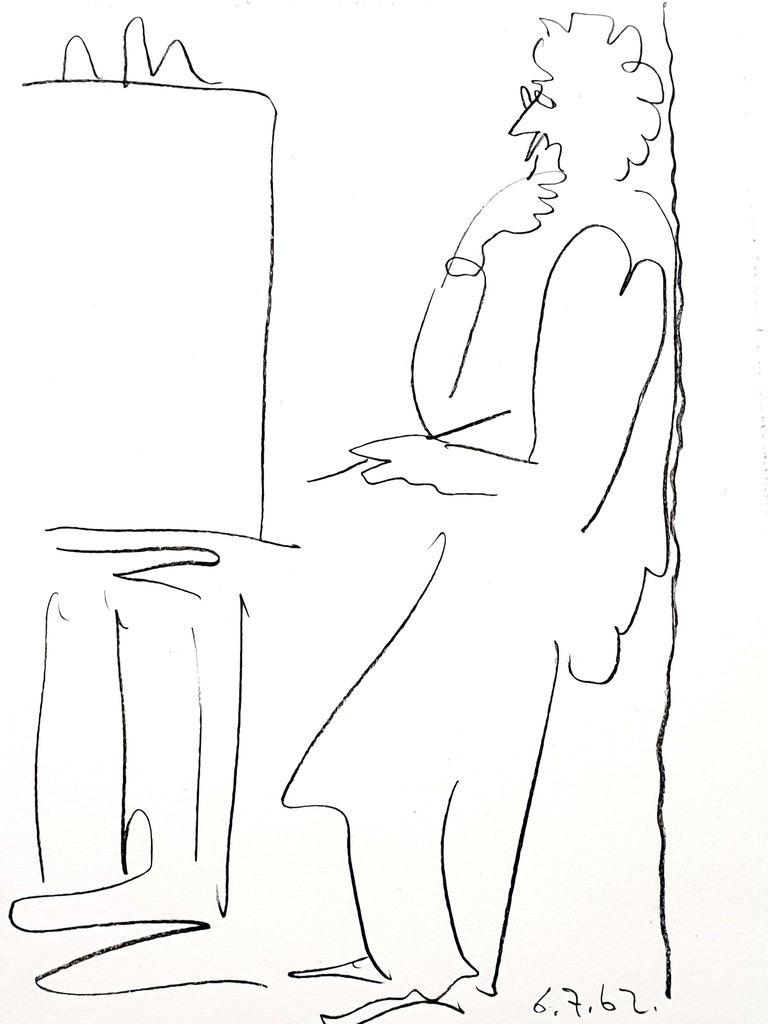 Pablo Picasso - The Painter - Original Lithograph - Gray Figurative Print by Pablo Picasso