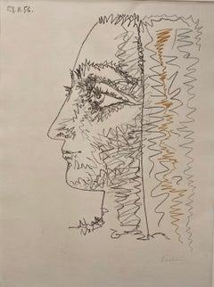 """Pablo Picasso, """"Three Colour Profile"""""""