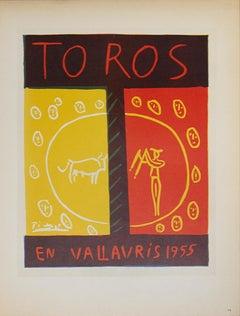 """Pablo Picasso-Toros en Vallauris-12.5"""" x 9.25""""-Lithograph-1959-Cubism-Brown"""