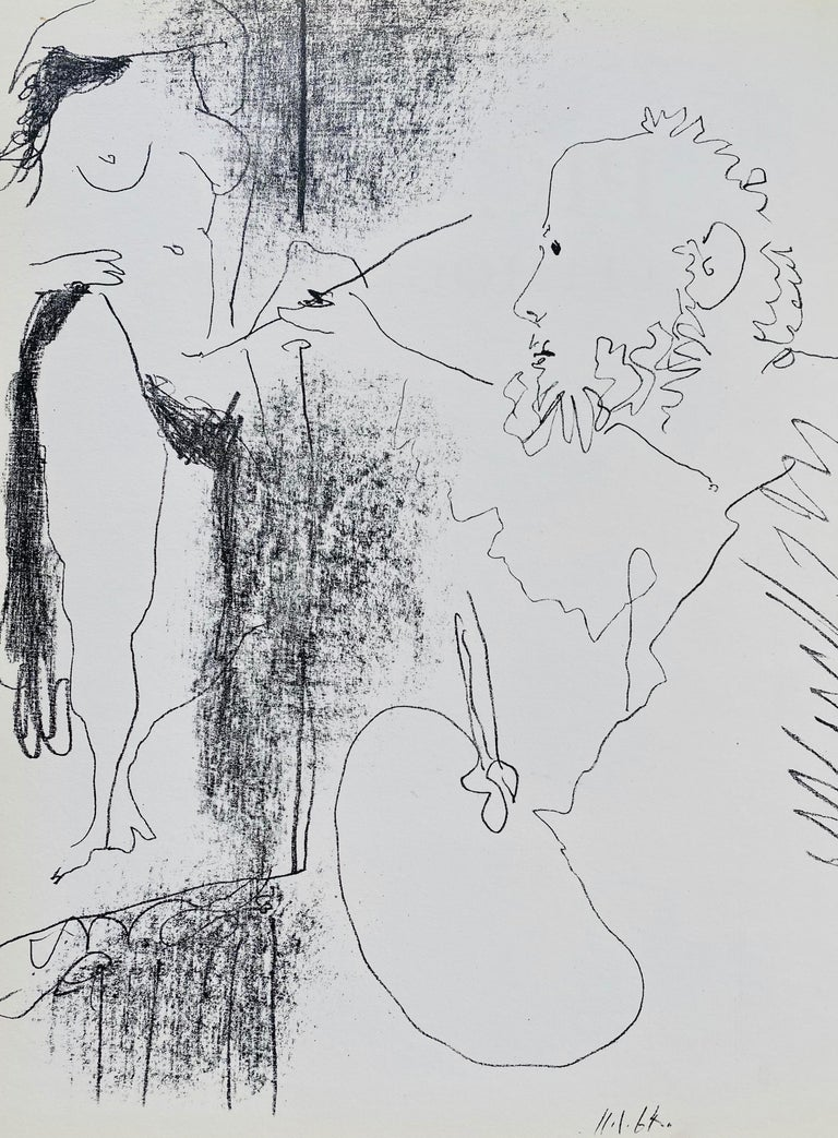 """Painter and Model, a Lithograph by Pablo Picasso.  Lithograph removed from Fernand Mourlot's famous Catalogue """"Picasso Lithographe Volume IV published in Paris in 1964.  There were 3,000 Catalogue books published in 1964. Many of these books"""