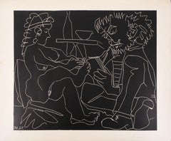 Painter and Model with Hat - Original linocut, Handsigned (ref. Bloch #1194)