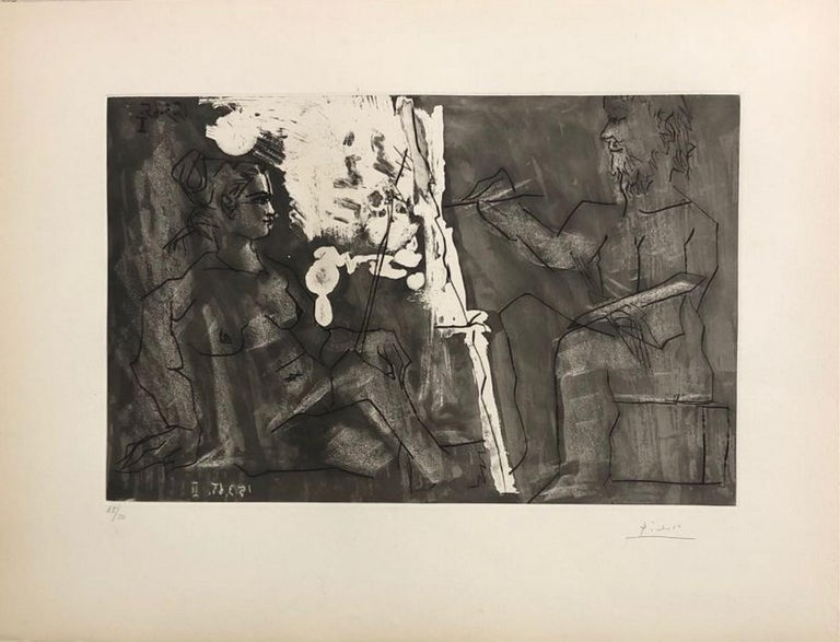 Pablo Picasso Abstract Print - Painter at his easel, with a sitter